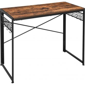 Vasagle Computer Folding Desk, 39-Inch Writing Desk with 8 Hooks, Simple Small Desk, Study Workstation, No Tools Required for Home Office, Laptop and PC, ULWD42X - Rustic Brown And Black   LWD42X