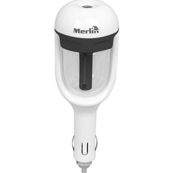 Merlin Cool Mist Humidifier for Car Fragrance Air Purifier No Noise Air Diffuser Cool Mist Maker Humidifier Fogger, Car, Room, Office, Babies, Travel, Bedroom Air Purifier - White | 683405364283