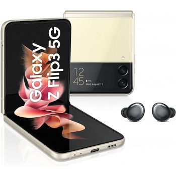 Samsung Galaxy Z Flip3 5G Single SIM And e-SIM Smartphone, 128GB Storage and 8GB RAM + Galaxy Buds2 Earbuds with Charging Case, ANC and Sound Customization (UAE Version) - Cream And Graphite Buds