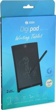 """Zoook  DIGI PAD 8.5"""" LCD Re-Writable Writing Tablet with Battery, Black, Plastic  