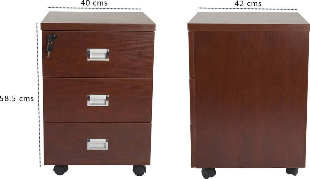 Mahmayi Station 3 Drawer Mobile Storage Unit Modern Sleek Office Furniture With Cabinets And Drawers Functional 3 Drawers Storage Finished With Melamine On Mdf And Castor Wheels Apple Cherry Buy Best
