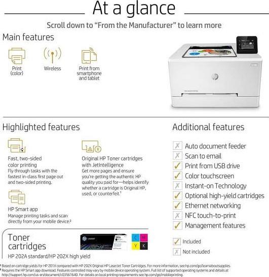 HP M254dw Color LaserJet Pro Wireless Printer A4, A5, A6, B5 JIS , B6  ePrint, AirPrint T6B60A