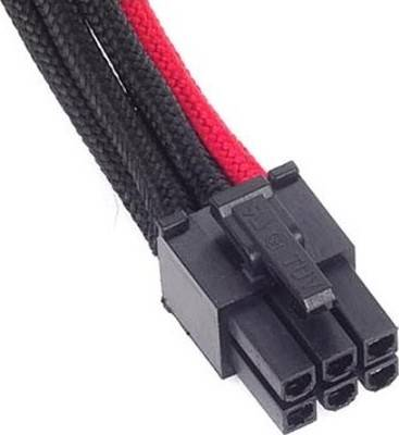 SilverStone 6pin to PCI-E 6pin black red Sleeved Extention Cable, 250mm | SST-PP07-IDE6BR