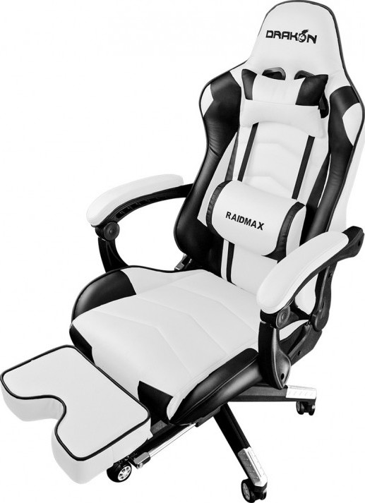 Raidmax Drakon Gaming Chair With Footrest Black White