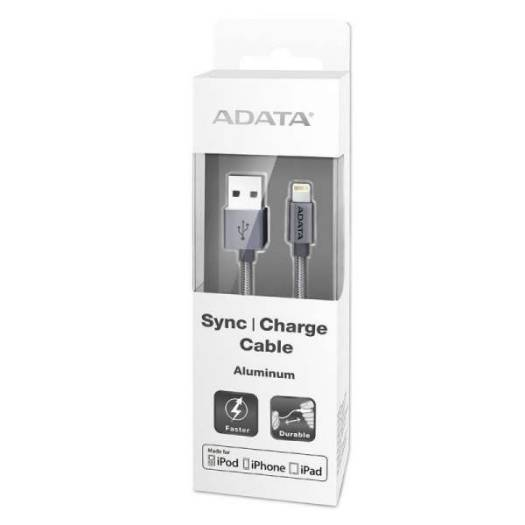 ADATA MFi-Certified Sync and Charge Lightning Cable 1 Meter for Apple iPhone, iPad, iPod (Aluminum and Braided, Fast Charging up to 2.4A, Durable) – Titanium | AMFIAL-100CMK-CTI