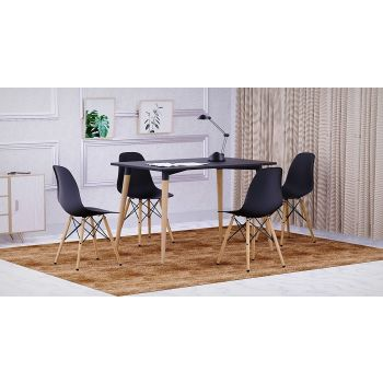 Mahmayi Cenare Eames Style Side Table with Natural Wood Legs Dining Table Lounge Table (140x80) - Black | Cenare-Table-140x80-BLK