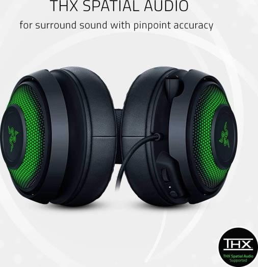 Razer Kraken Ultimate RGB USB Gaming Headset (THX 7.1 Spatial Surround Sound, Chroma RGB Lighting, Retractable Active Noise Cancelling Mic, Aluminum & Steel Frame, for PC) | RZ04-03180100-R3M1
