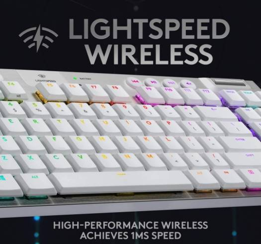 Logitech G915 TKL, Tactile Tenkeyless Lightspeed Wireless RGB Mechanical Gaming Keyboard, Low Profile Switch Options, LIGHTSYNC RGB, Advanced Wireless and Bluetooth Support - Tactile White| 920-009664