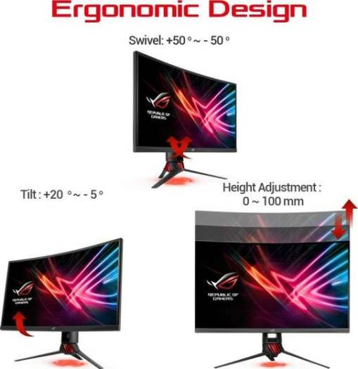 ASUS XG27VQ ROG Strix 27 Inch Curved Full HD 1080p 144Hz DP HDMI DVI Eye Care Gaming Monitor | 90LM03G0-B01970