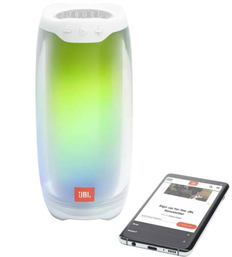 JBL Pulse 4 Portable Waterproof Bluetooth Speaker, 4.2 Bluetooth Version, 3.5 hrs. Charging Time, 3.5 mm Audio Cable Input (With Lightshow) - White   PULSE 4