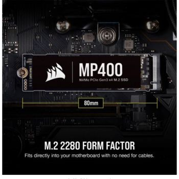Corsair MP400 M.2 2280 2TB PCI-Express 3.0 x4, NVMe 1.3 3D QLC Internal Solid State Drive (SSD) | CSSD-F2000GBMP400