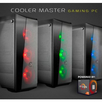 Cooler Master Mid-level Gaming PC powered by AMD RYZEN 5 2600 6-Core 3.4 GHz (3.9 GHz Max Boost) MSI B450-A Pro 16 GB (2x8 GB) DDR4 2666MHz 250GB SATA 2.5-inch GTX 1070 Mini 8GB 1TB HDD Windows 10 Hom