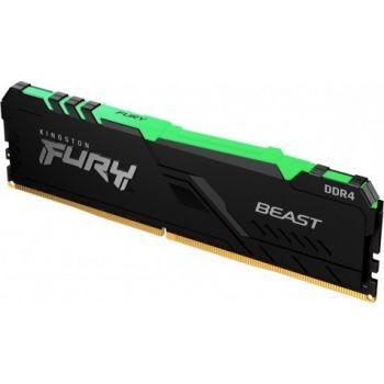 Kingston Fury Beast RGB 8GB DDR4 Desktop Memory, 3200Mhz, Non ECC, CL16, 288 Pin, DIMM   KF432C16BBA/8