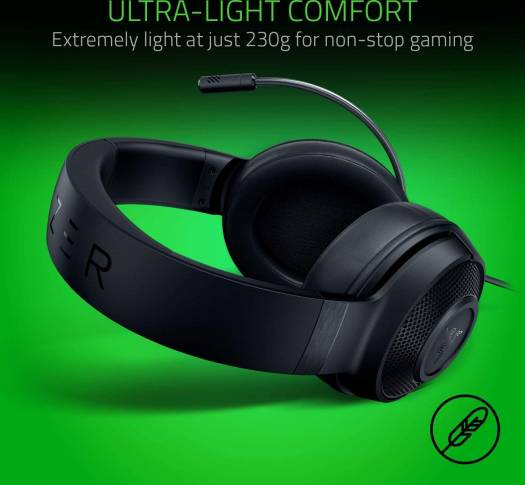 Razer Kraken X Lite Ultralight Gaming Headset: 7.1 Surround Sound Capable - Lightweight Frame - Bendable Cardioid Microphone - for PC, Xbox, PS4, Nintendo Switch - Classic Black   RZ04-02950100-R381