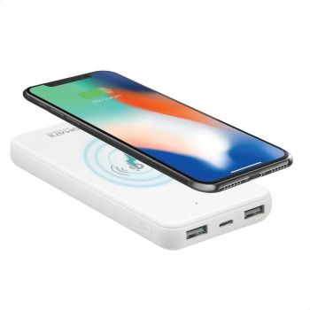Promate Qi Wireless Charger Power Bank, Portable 10000mAh Fast Charging Portable Charger with Type-C Input/Output Port, 2.1A Dual USB Port and Full Tempered Glass Pane - White | 6959144046235