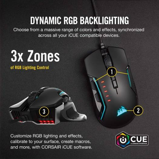 Corsair GLAIVE RGB PRO 18,000 dpi FPS/MOBA Optical Wired Gaming Mouse (Black) | CH-9302211-NA