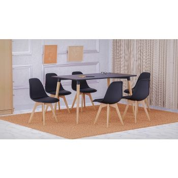 Mahmayi Cenare 7 Piece Dining Set for Kitchen, 140 X 80 Table With 6 PU Dining Chair, Dining Room Set Lounge Set, Eiffel Legged Base Seat Shell Top Side Chairs - Black   SetTable-6PUCHAIR-BLK