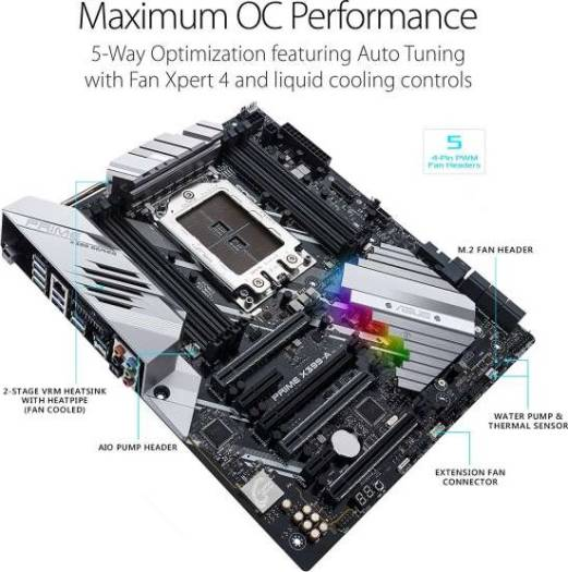 ASUS PRIME X399-A AMD SocketTR4 EATX Motherboard with M.2 Heatsink, DDR4 3600MHz, Dual M.2, U.2, SATA 6Gb/s, Front-panel USB 3.1 Gen 2 connector | 90MB0V80-M0EAY0