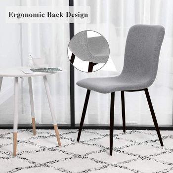 Mahmayi HYDC058 Fabric Dining Chair, Modern Mid Century Living Room Side Chairs with Metal Legs, 1 Pcs - Grey | HYDC058-GRY-PK1