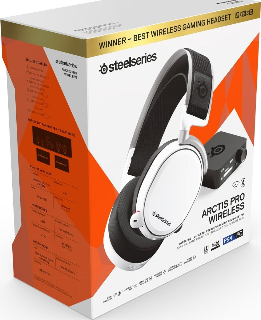 SteelSeries Arctis Pro Wireless DTS Headphone X v2 0 Surround Sound Gaming  Headset for PS4 and PC