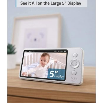 """Anker Eufy Security Video Baby Monitor, 720p, 5"""" Display, All-Day Battery, 2-Way Audio, Night Vision, Lullaby Player, Temp Alert, Ideal for New Moms, Pan & Tilt Not Supported - White   194644020828"""