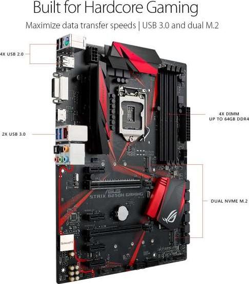 ASUS ROG STRIX B250H GAMING LGA1151 DDR4 HDMI DVI M 2 B250 ATX Motherboard  with USB 3 1 90MB0TS0 M