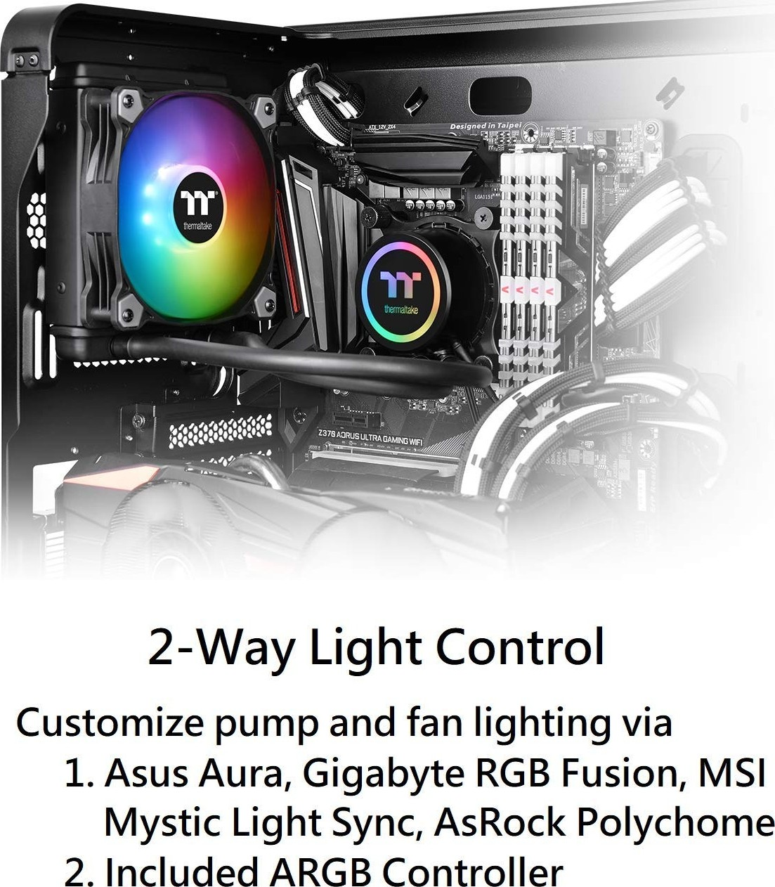 Thermaltake Water 3 0 ARGB Motherboard Sync Edition Intel AMD 120 All in  One Liquid Cooling System 1