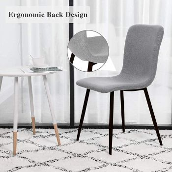 Mahmayi HYDC058 Fabric Dining Chair, Modern Mid Century Living Room Side Chairs with Metal Legs, Pack of 2, Free Assembly - Grey   HYDC058-GRY-PK2