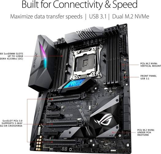 ASUS ROG STRIX X299-XE GAMING LGA2066,  Core X-Series Processors,  DDR4, M.2, USB 3, WiFi X299 ATX Motherboard with ROG Addressable AURA Sync LED Strip | 90MB0VW0-M0EAY0