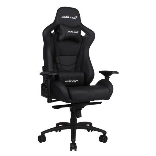 Anda Seat AD12XL-03-BR-PV Armrest:4D  frog seat tray lumbar pillow headrest pillow 75mm casters black aluminum base, Extra Large Gaming Chair, Black | AD12XL-03-B-PV