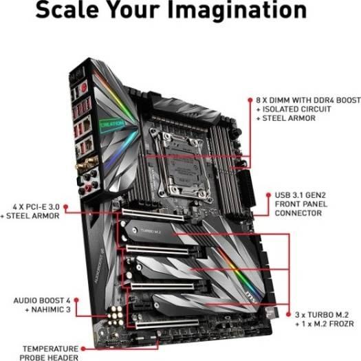 MSI MEG X299 CREATION Intel LGA 2066 SATA 6Gb/s USB 3.1 Extended ATX Intel Triple Turbo M.2, Shield Frozr, Mystic Light, Core Boost, Audio Boost 4   | 911-7C06-01S