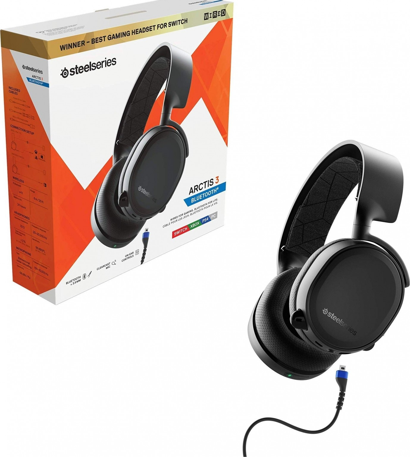 SteelSeries Arctis 3 Bluetooth (2019 Edition) Wired & Wireless Gaming  Headset For PC, Nintendo Switch, PlayStation, Xbox, VR, Mobile – (Black) |  61509