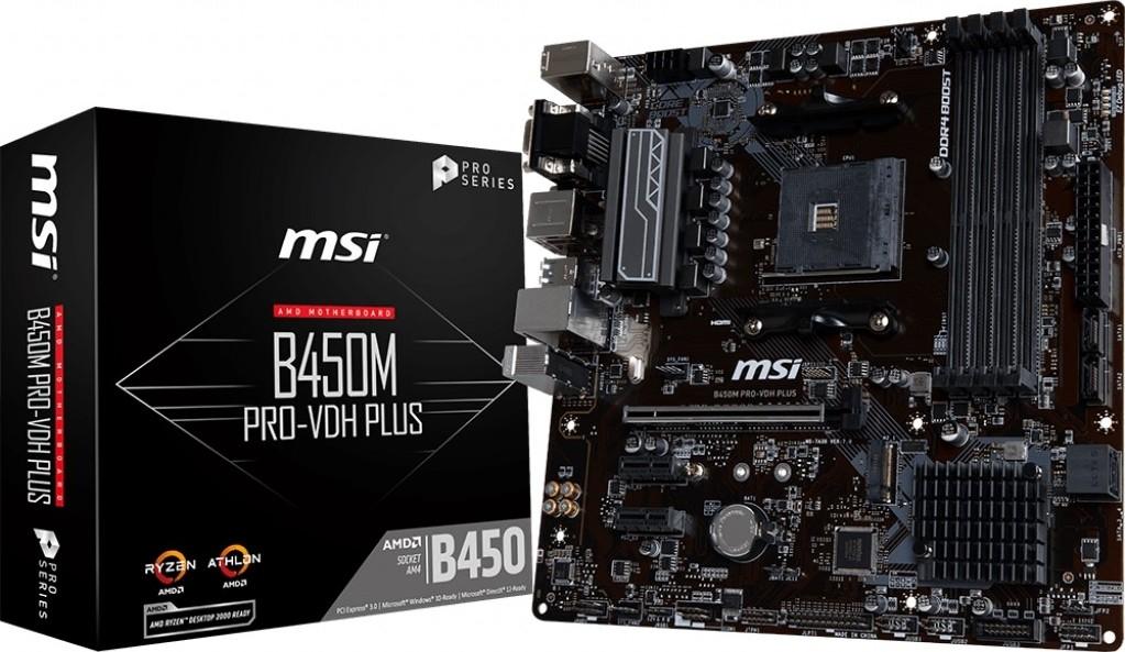 MSI B450M PRO-VDH PLUS , DDR4 Support, M.2 storage, 7.1 HD audio, DVI-