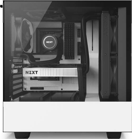 NZXT H500 ATX Mid Tower - Tempered Glass Window - Compact PC Gaming Case - Matte White | CA-H500B-W1