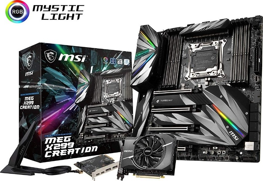 MSI MEG X299 CREATION Intel LGA 2066 SATA 6Gb s USB 3 1 Extended ATX Intel  Triple Turbo M 2, Shield