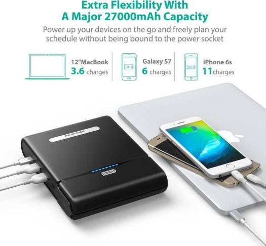 RAVPower 27000mAh Universal Power Bank with Built-in AC Outlet - Black | RP-PB055