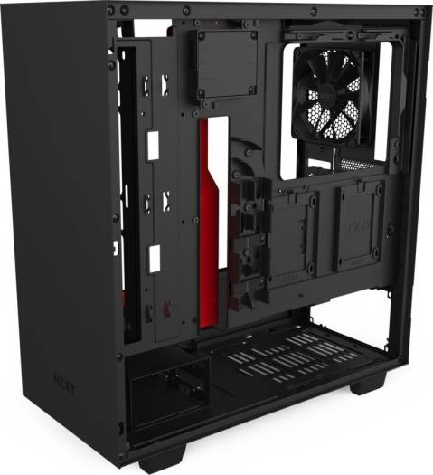 NZXT H510i Compact ATX Mid Tower PC Gaming Case Front I/O USB Type-C Port Vertical GPU Mount Tempered Glass Side Panel Integrated RGB Lighting Water-Cooling Ready Black Red | CA-H510i-BR