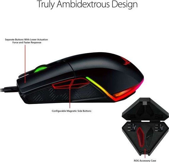 d53458ddd68 ASUS P503 ROG Pugio Aura RGB USB Wired Optical Ergonomic Ambidextrous  Gaming Mouse 7200DPI | 90MP00L0