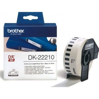 Brother DK-22210 Black On White 29mm x 30.48m Strong Adhesive Continuous Paper Tape Paper   DK-22210