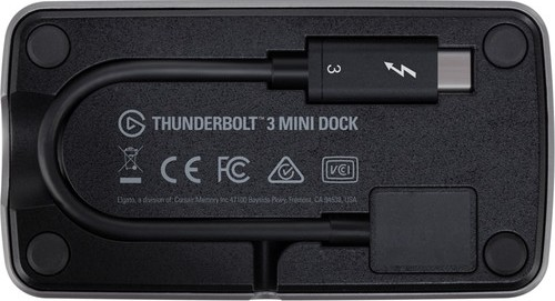 with built-in Thunderbolt cable Gigabit Ethernet Elgato Thunderbolt 3 Mini Dock USB 3.1 Gen 1 40 Gb//s dual 4K support