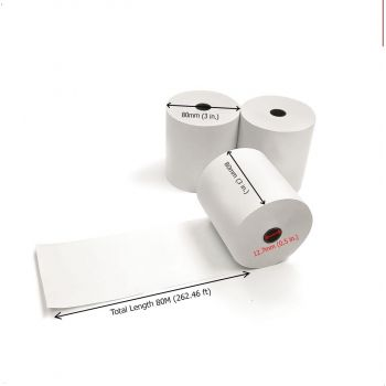 Oscar Receipt Thermal POS Paper Roll 80mm, Bill Paper Receipt Roll 80 METERS Guaranteed Length, Thermal Receipt Cash Register Paper Roll (60 Rolls) | MPPPRMNNN10NW60