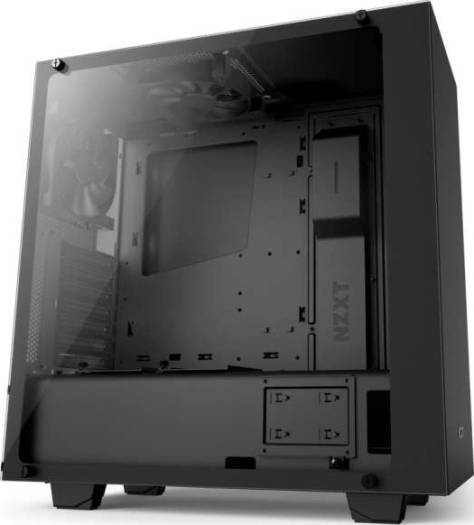 NZXT S340 Elite Tempered Glass Compact ATX-Mid Tower with VR Support Computer Case Matte Black | CA-S340W-B3