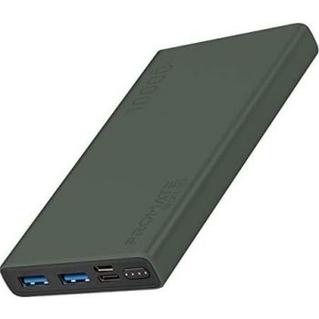 Promate 10000mAh Portable Power Bank Charger, Fast Charging 2.0A Dual USB, Battery with Input USB Type-C Port, Over Charging Protection for Smartphones, Tablets, iPod, Bolt-10 - Green | 6959144046945