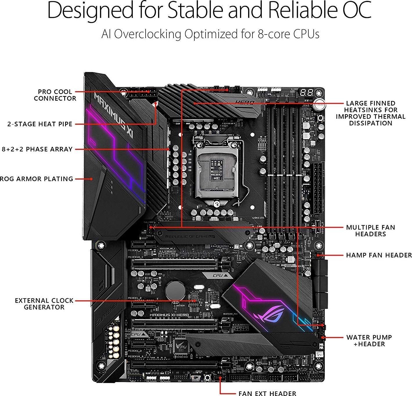 Asus Rog Maximus Xi Hero Intel Z390 Atx Gaming Motherboard