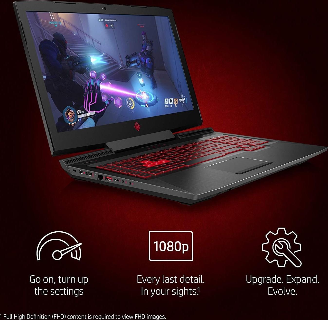HP OMEN 17 Gaming Laptop, 17 3 Inch Display, 8th Generation Core i7 8750H,  12GB Ram, 1TB+128GB Hybri
